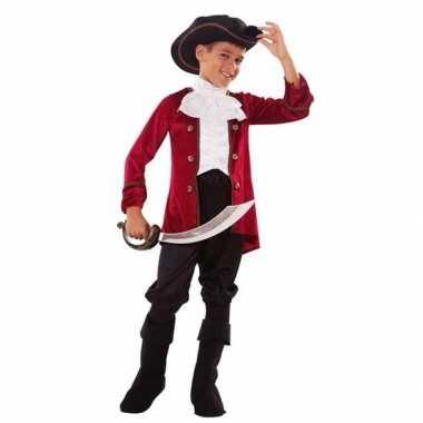Originele piraten carnavalskleding rood/zwart jongens