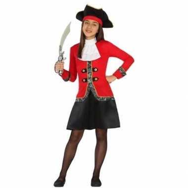 Originele piraten carnavalskleding rood/zwarte carnavalskleding meisj
