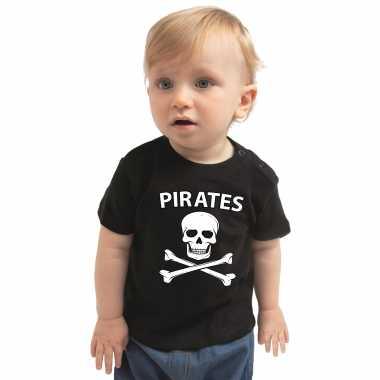 Originele piraten carnavalskleding shirt zwart babys