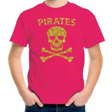 Originele piraten shirt verkleed shirt goud glitter roze kinderen carnavalskleding
