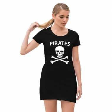 Originele piraten verkleed carnavalskleding doodshoofd zwart dames