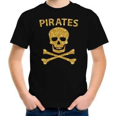 Originele piraten verkleed shirt goud glitter zwart kinderen carnavalskleding