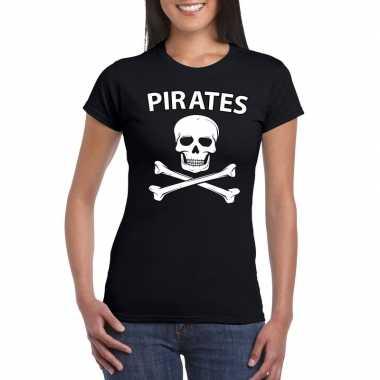 Originele piraten verkleed shirt zwart dames carnavalskleding