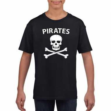 Originele piraten verkleed shirt zwart kinderen carnavalskleding