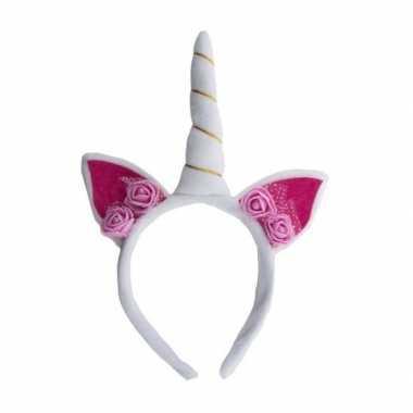 Originele pluche eenhoorn diadeem wit/roze carnavalskleding