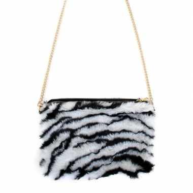 Originele pluche tasje zebra print dames carnavalskleding