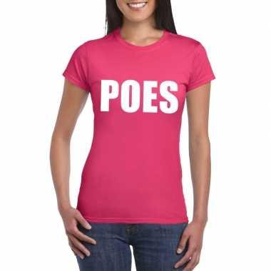 Originele poes tekst t shirt roze dames carnavalskleding