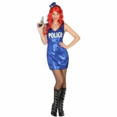 Originele politie glitter verkleed carnavalskleding dames