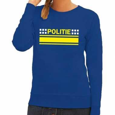 Originele politie logo sweater blauw dames carnavalskleding