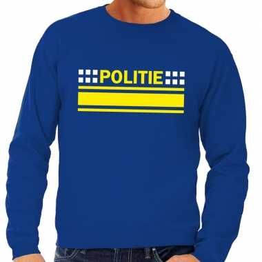 Originele politie logo sweater blauw heren carnavalskleding