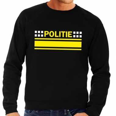 Originele politie logo sweater zwart heren carnavalskleding