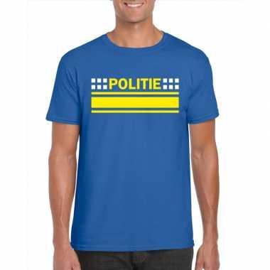 Originele politie logo t shirt blauw heren carnavalskleding