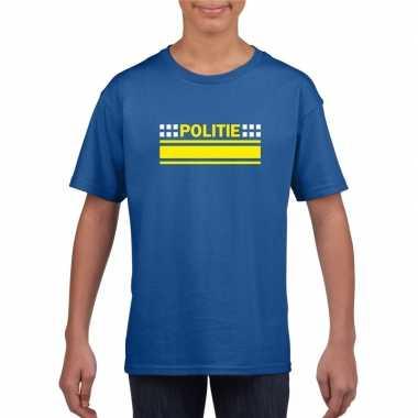 Originele politie logo t shirt blauw kinderen carnavalskleding