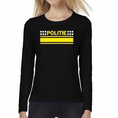 Originele politie logo verkleed t shirt long sleeve zwart dames carna