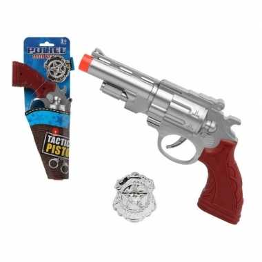 Originele politie speelgoed pistool zilver carnavalskleding
