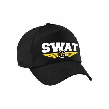 Originele politie swat team logo pet zwart kinderen carnavalskleding