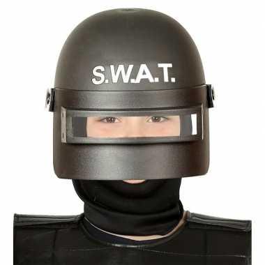 Originele politie swat verkleed helm vizier kinderen zwart carnavalsk