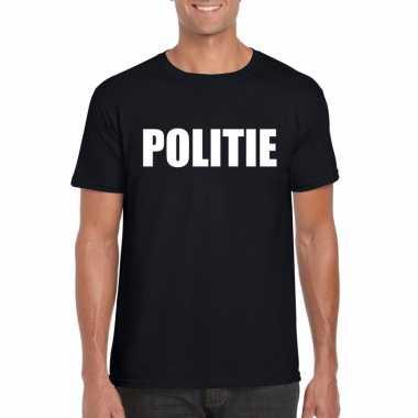 Originele politie tekst t shirt zwart heren carnavalskleding