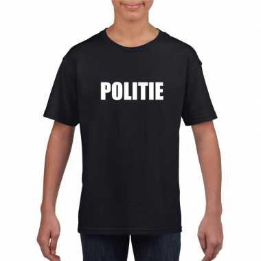 Originele politie tekst t shirt zwart kinderen carnavalskleding