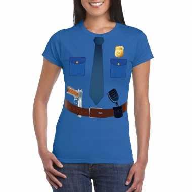 Originele politie uniform carnavalskleding t shirt blauw dames