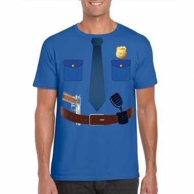 Originele politie uniform carnavalskleding t shirt blauw heren