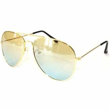 Originele politiebril goud gele glazen volwassenen carnavalskleding
