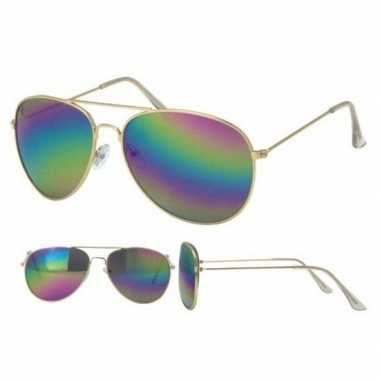 Originele politiebril goud olie/spiegel glazenvoor volwassenen carnav