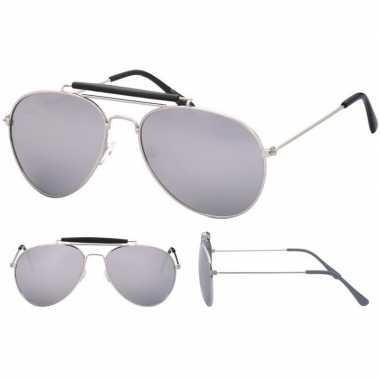 Originele politiebril zilver spiegel glazen volwassenen carnavalskled