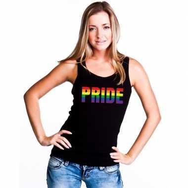 Originele pride regenboog tekst singlet shirt/ tanktop zwart dames ca