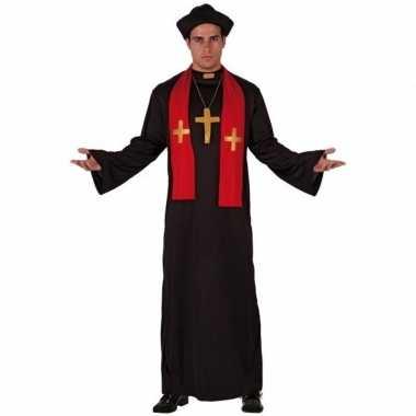 Originele priester carnavalskledings zwart rood