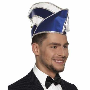 Originele prins carnaval muts blauw/wit heren carnavalskleding
