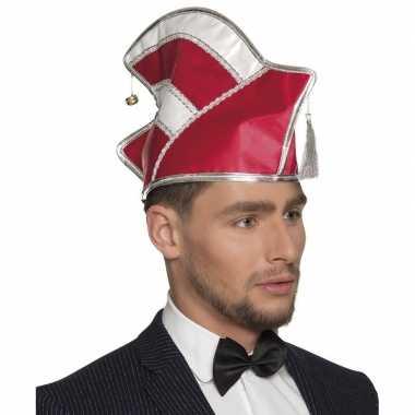Originele prins carnaval muts rood/wit heren carnavalskleding