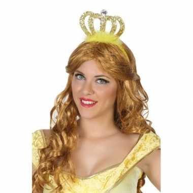Originele prinses/koningin verkleed diadeem gouden kroon carnavalskle