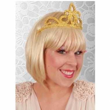 Originele prinses tiara goud dames carnavalskleding