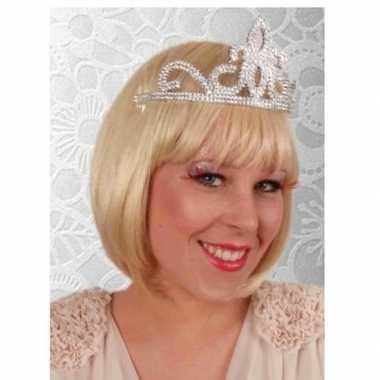 Originele prinses tiara zilver dames carnavalskleding
