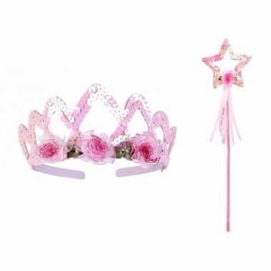 Originele prinsessen kroontje stafje roze carnavalskleding
