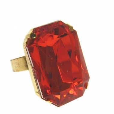 Originele rechthoekige gangster ring rode steen carnavalskleding