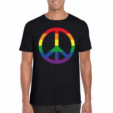 Originele regenboog peace teken shirt zwart heren carnavalskleding