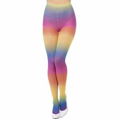 Originele regenboog verkleed panty carnavalskleding