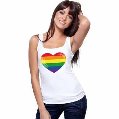 Originele regenboog vlag hart singlet shirt/ tanktop wit dames carnav