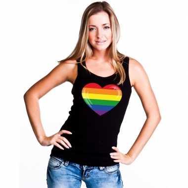 Originele regenboog vlag hart singlet shirt/ tanktop zwart dames carn