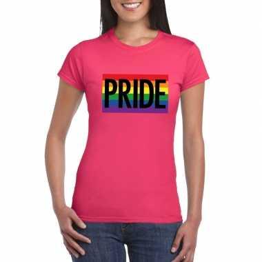 Originele regenboog vlag pride shirt roze dames carnavalskleding