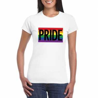 Originele regenboog vlag pride shirt wit dames carnavalskleding