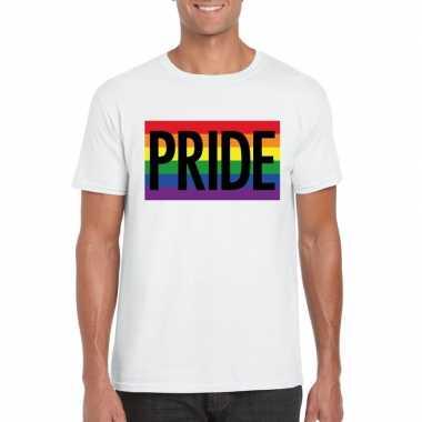 Originele regenboog vlag pride shirt wit heren carnavalskleding