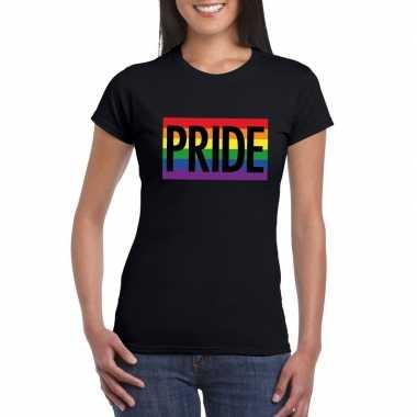 Originele regenboog vlag pride shirt zwart dames carnavalskleding