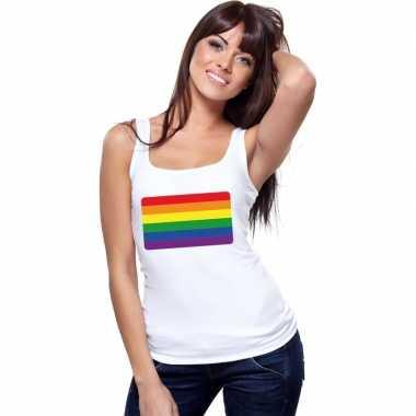 Originele regenboog vlag singlet shirt/ tanktop wit dames carnavalskl