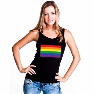 Originele regenboog vlag singlet shirt/ tanktop zwart dames carnavals