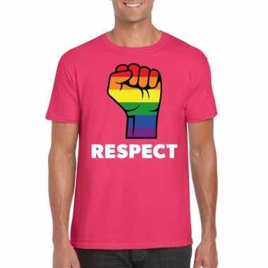Originele respect lgbt shirt regenboog vuist roze heren carnavalskled