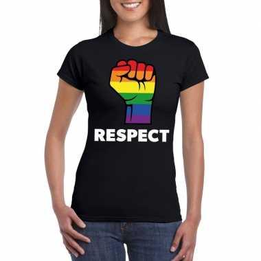 Originele respect lgbt shirt regenboog vuist zwart dames carnavalskle