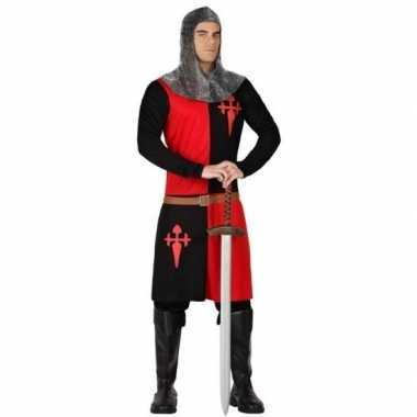 Originele ridder verkleed carnavalskleding zwart/rood heren